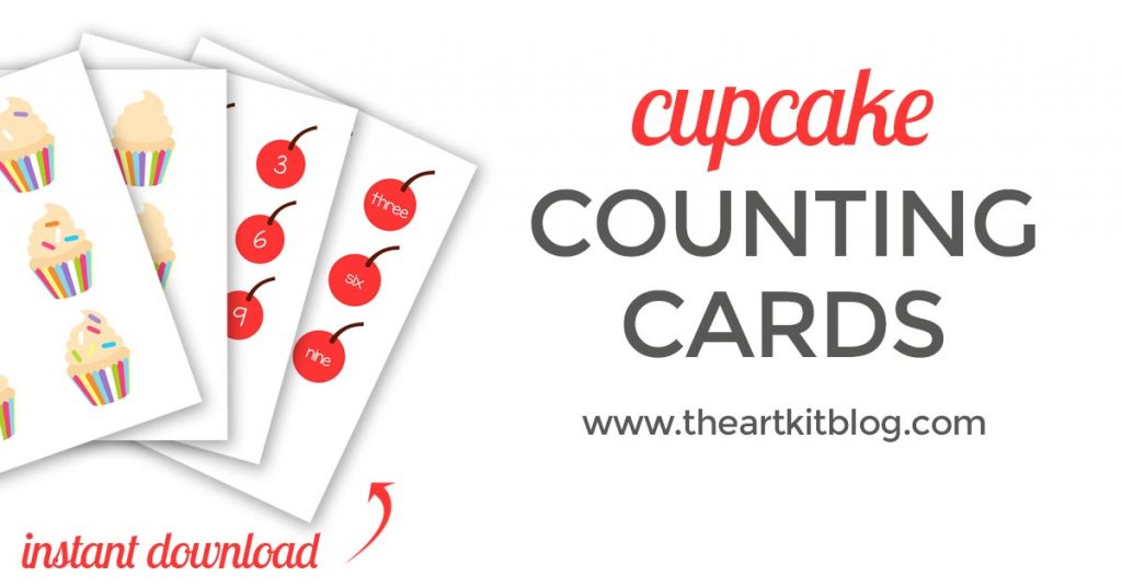 Cupcake counting cards play doh mat number practice the art kit printable instant download