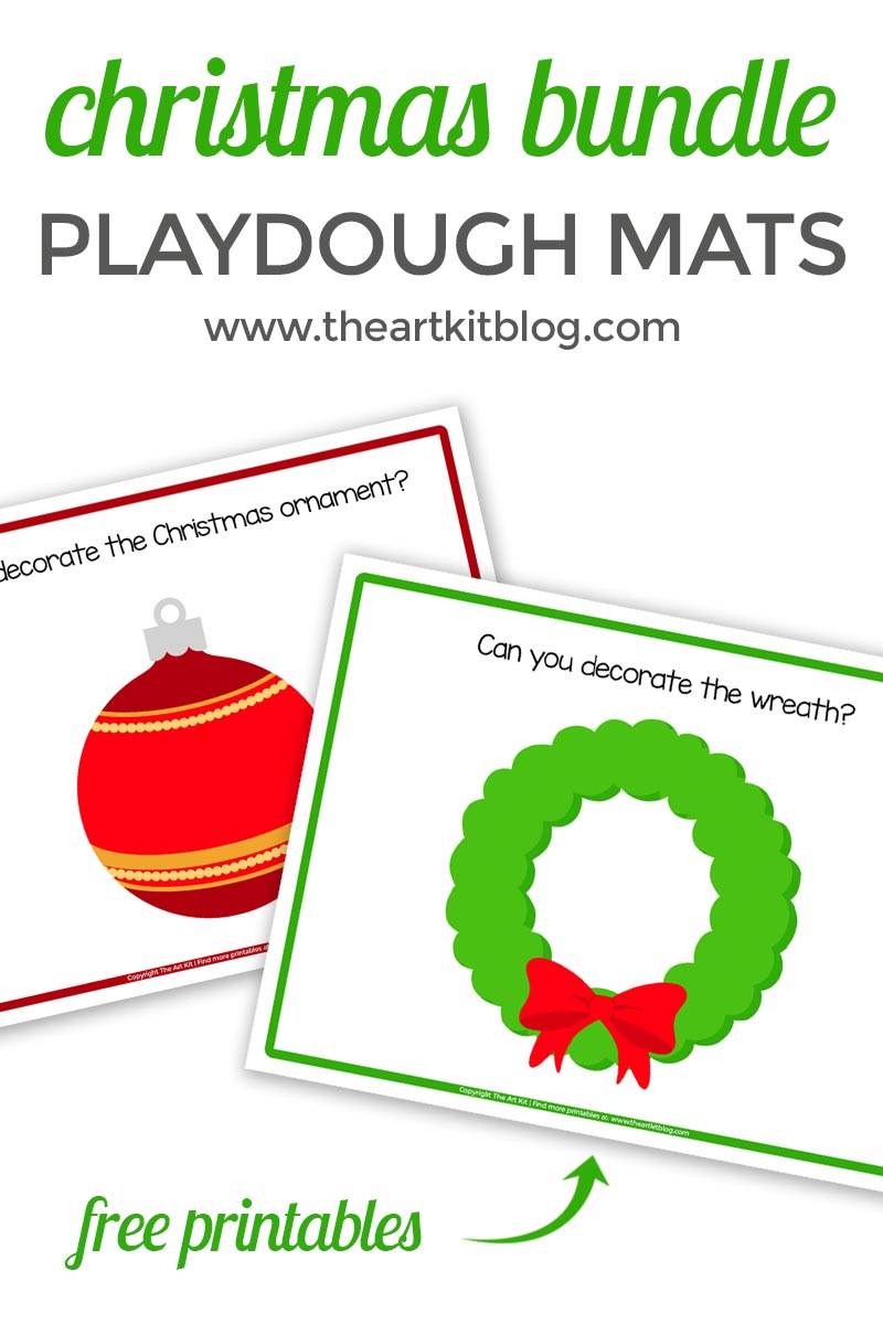 Free Christmas playdough mat bundle the art kit
