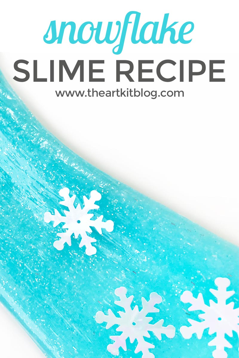 How to Make Homemade Snowflake Slime Recipe the art kit liquid starch glitter glue FACEBOOK