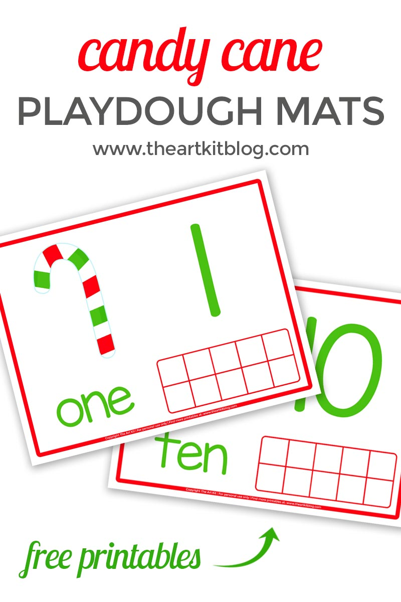Christmas candy cane playdough mats play doh activity counting the art kit number practice