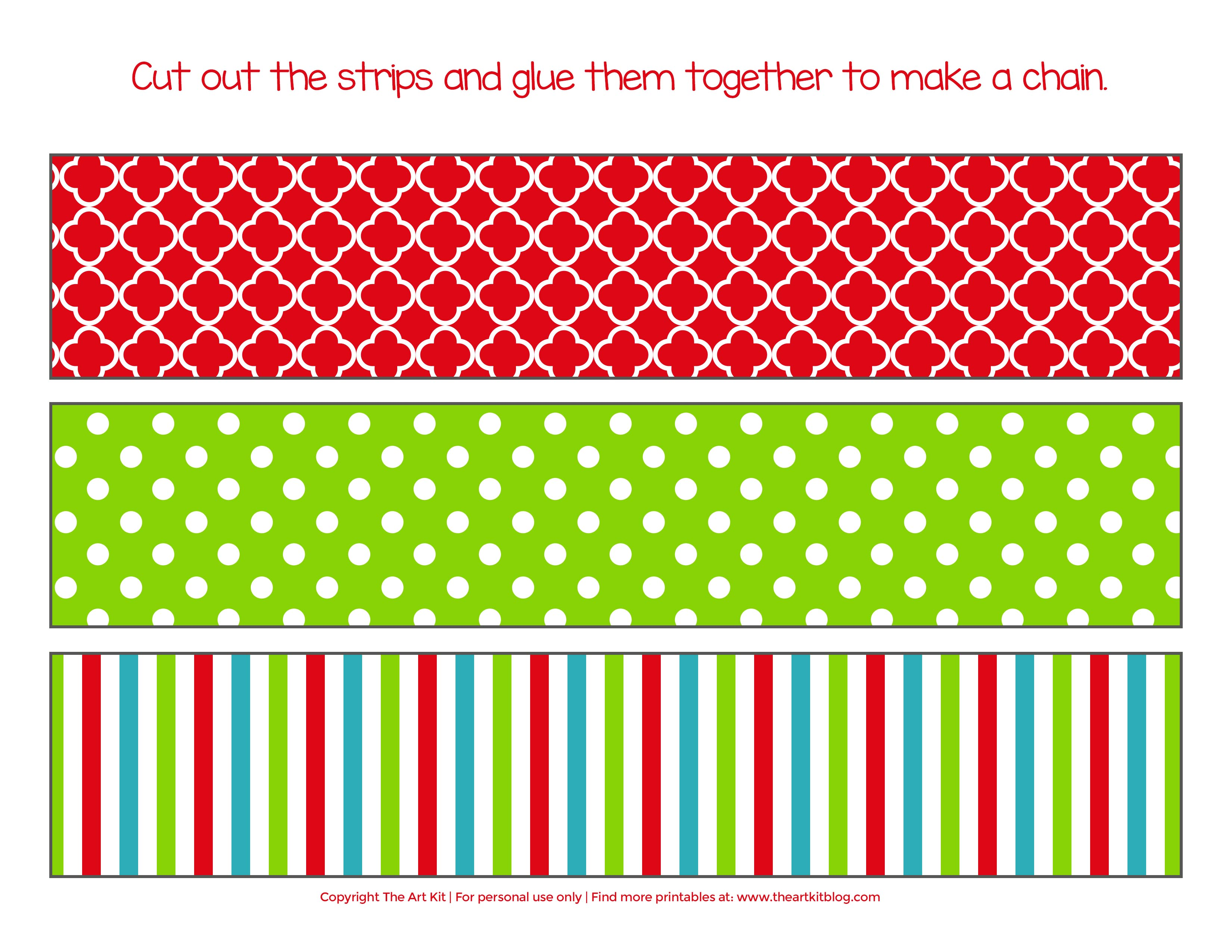 image about Free Printable Christmas Paper identify xmas chain no cost printable the artwork package - The Artwork Package