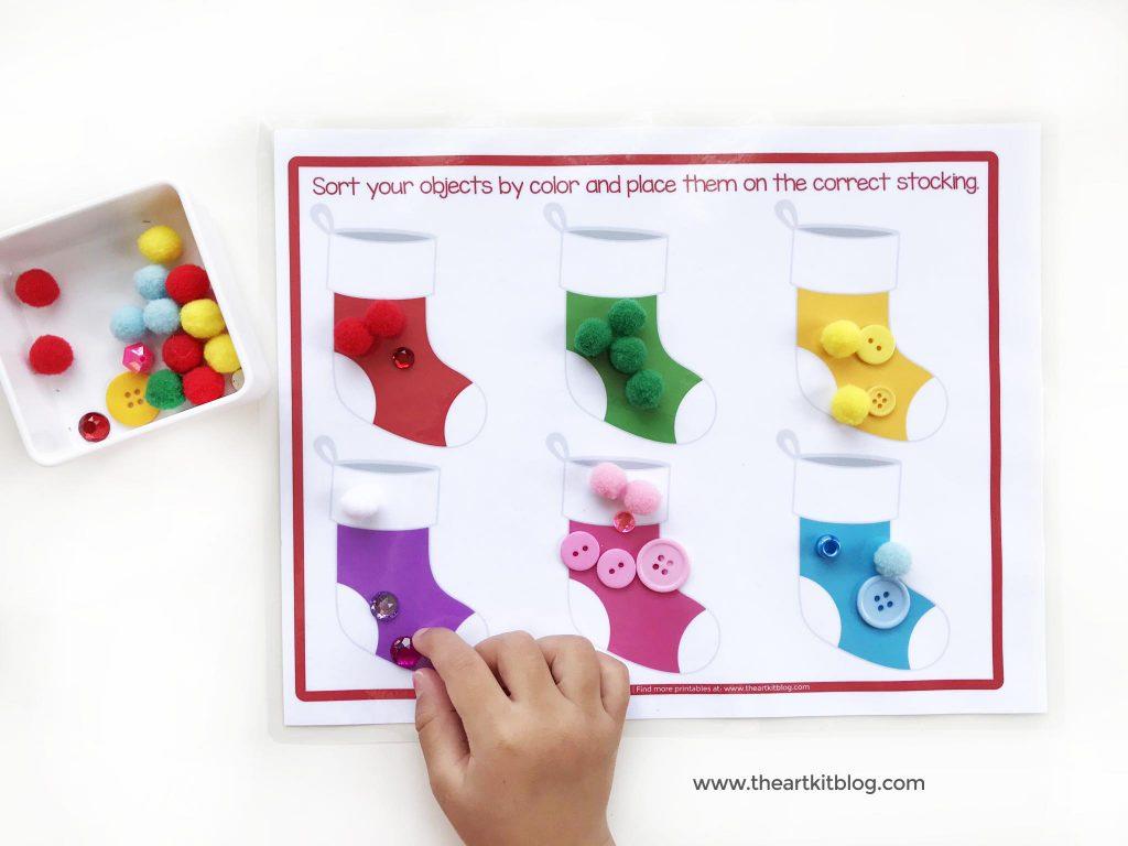 Christmas stockings color sorting the art kit free printable