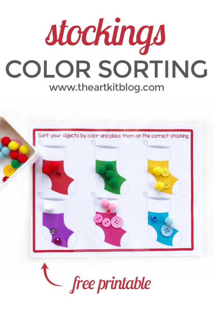 Christmas stockings color sorting the art kit free printable