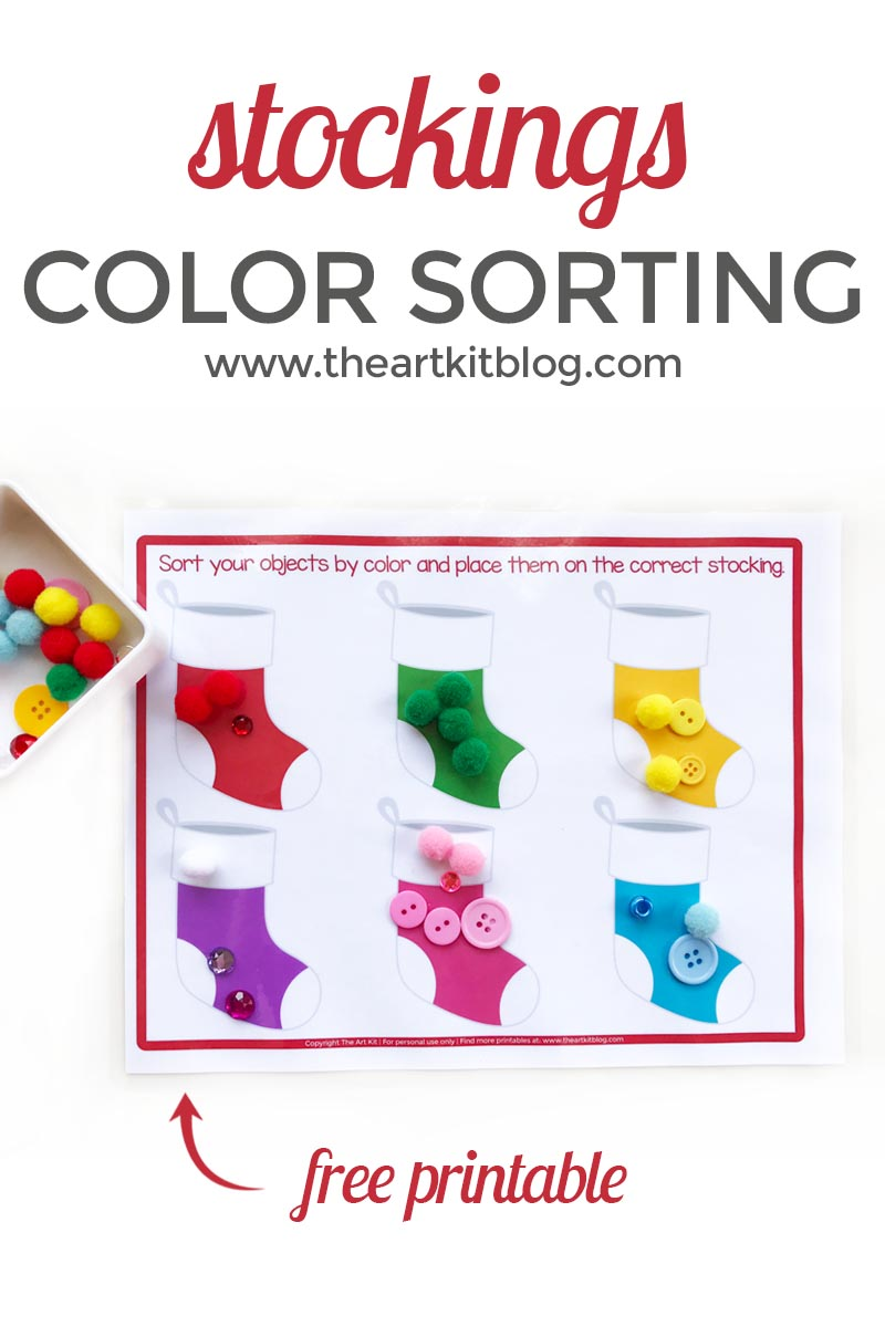 Christmas Stockings Color Sorting Activity Sheet {Free Printable}