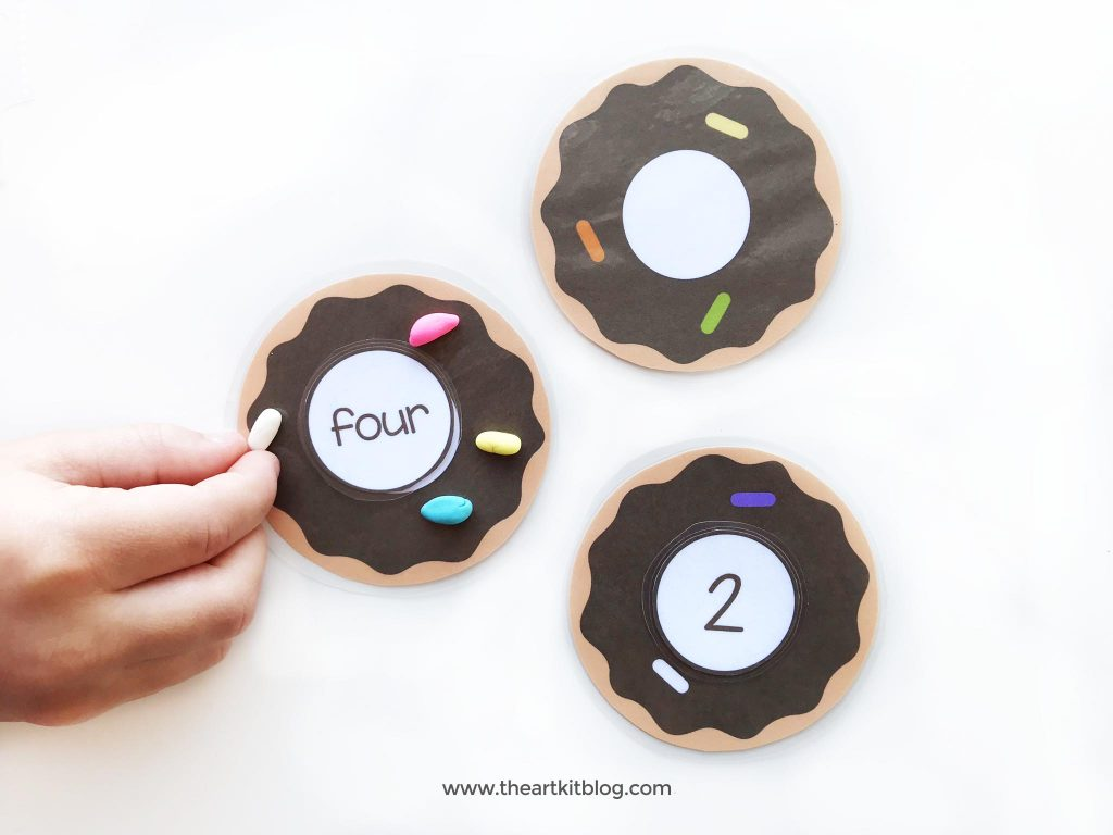 Donut playdough mats for number practice instant download printable the art kit