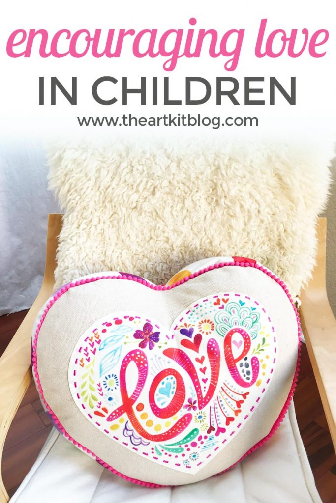 Encouraging love in children with wee believers love affirmation heart pillow review from the art kit blog