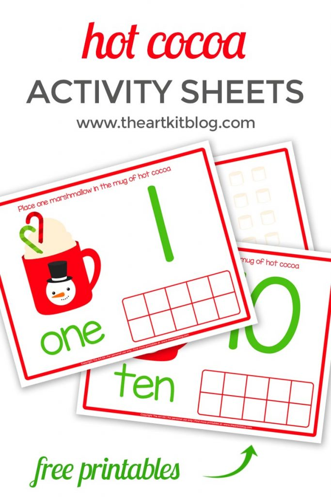 Hot cocoa number activity sheets {free printables}
