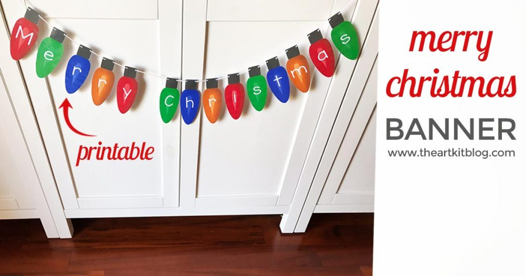 merry christmas light bulb banner printable the art kit FACEBOOK