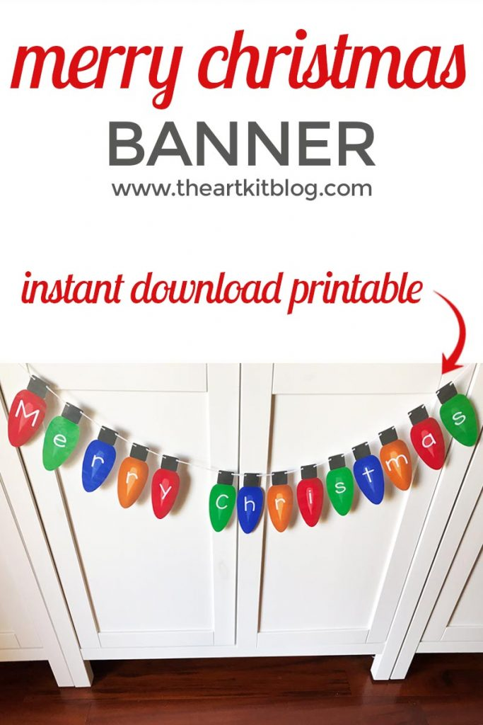 merry christmas light bulb banner printable the art kit