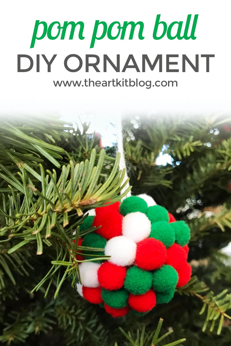 Pom Pom Ball Christmas Ornament DIY