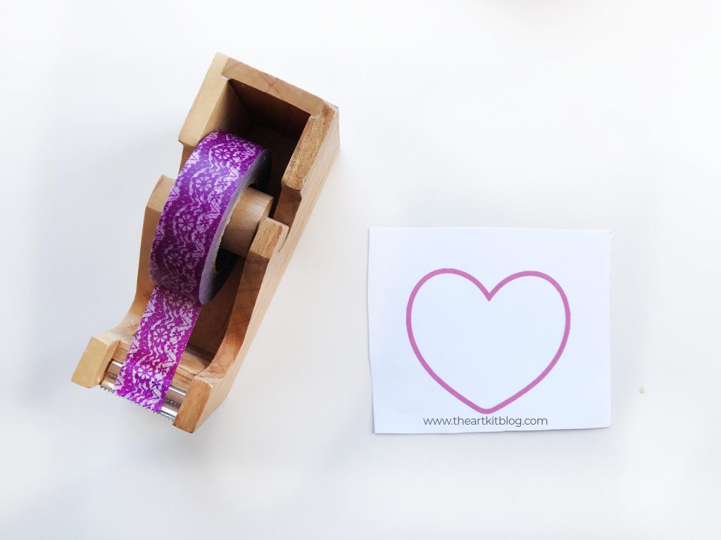 washi tape hearts no mess valentines day craft for kids