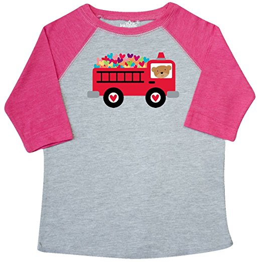 inktastic Valentine Fire Truck Heart Toddler T-Shirt 4T Heather and Hot Pink