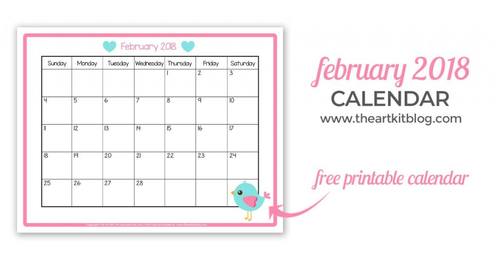 photo about Printable Calendar Kids titled Totally free Printable Calendar - Suitable for Young children February 2018