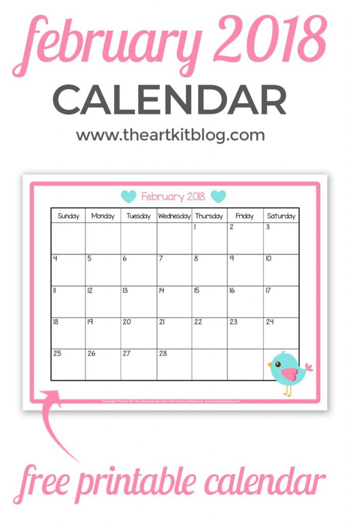 free printable calendar monthly february 2018