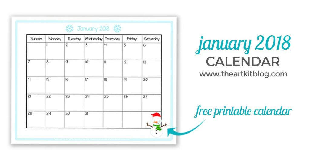 free printable calendar monthly january 2018