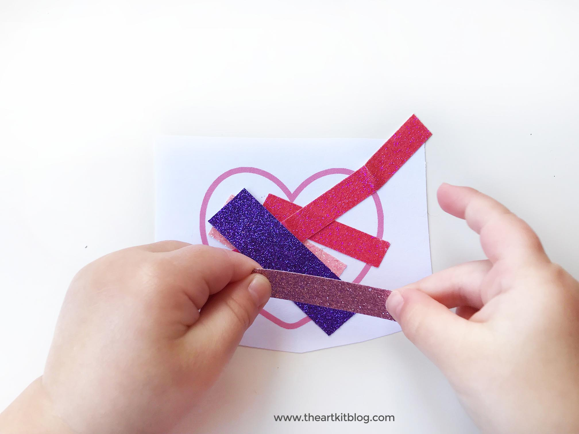 glitter tape hearts no mess valentines day craft for kids 2 | The ...