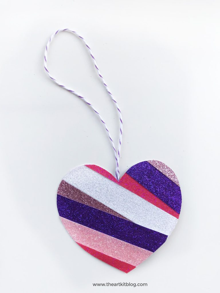 glitter tape hearts no mess valentines day craft for kids