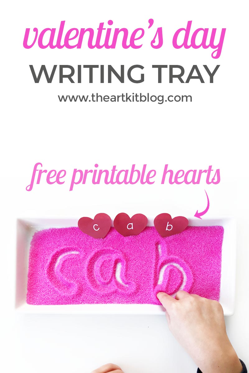 Valentine's Day Writing Tray with Free Printable Heart Letters