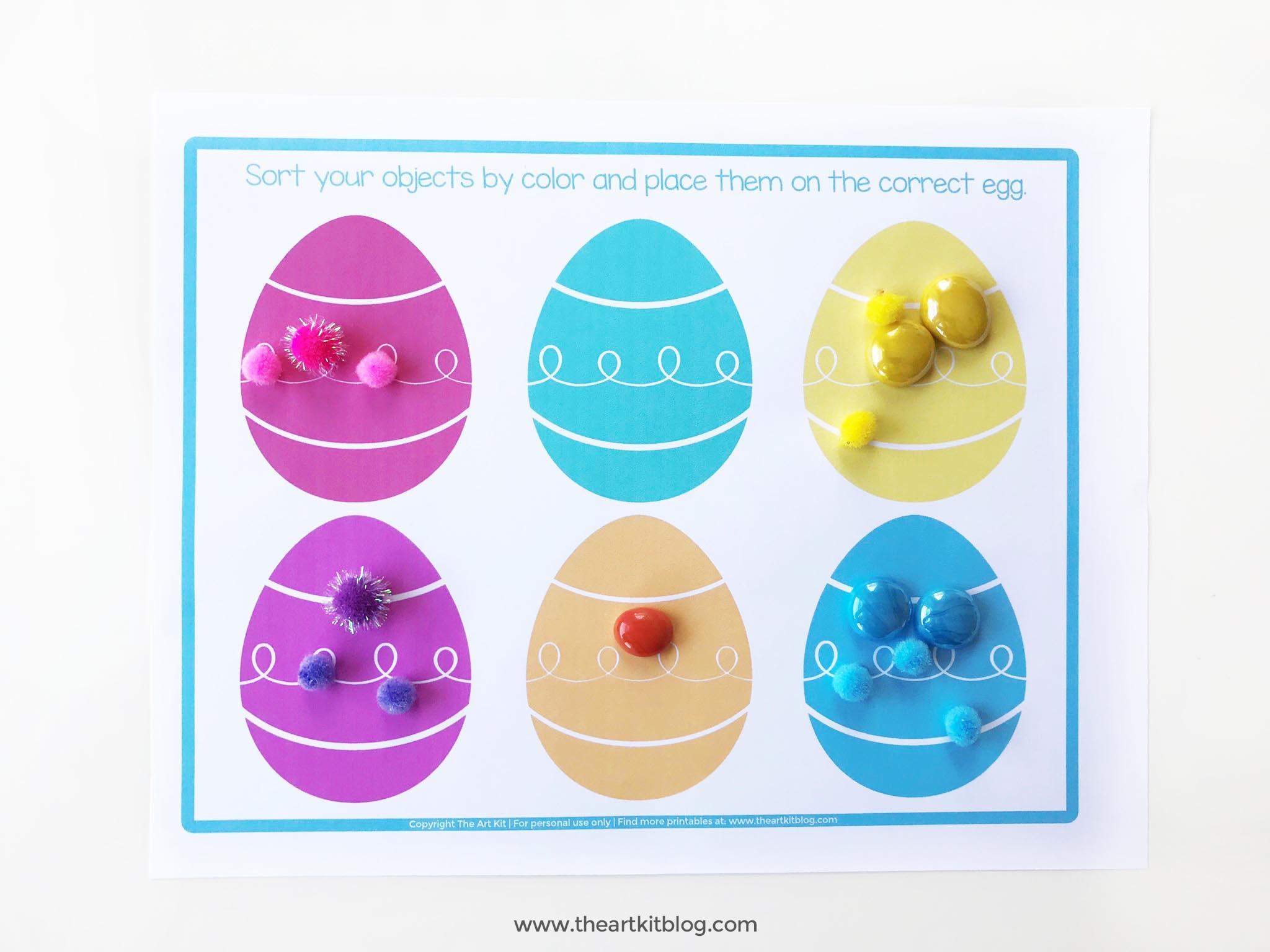 Easter egg color sorting free printable 2 - The Art Kit