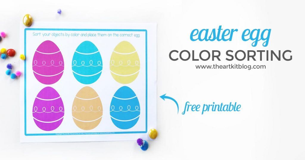 Easter egg color sorting free printable 2