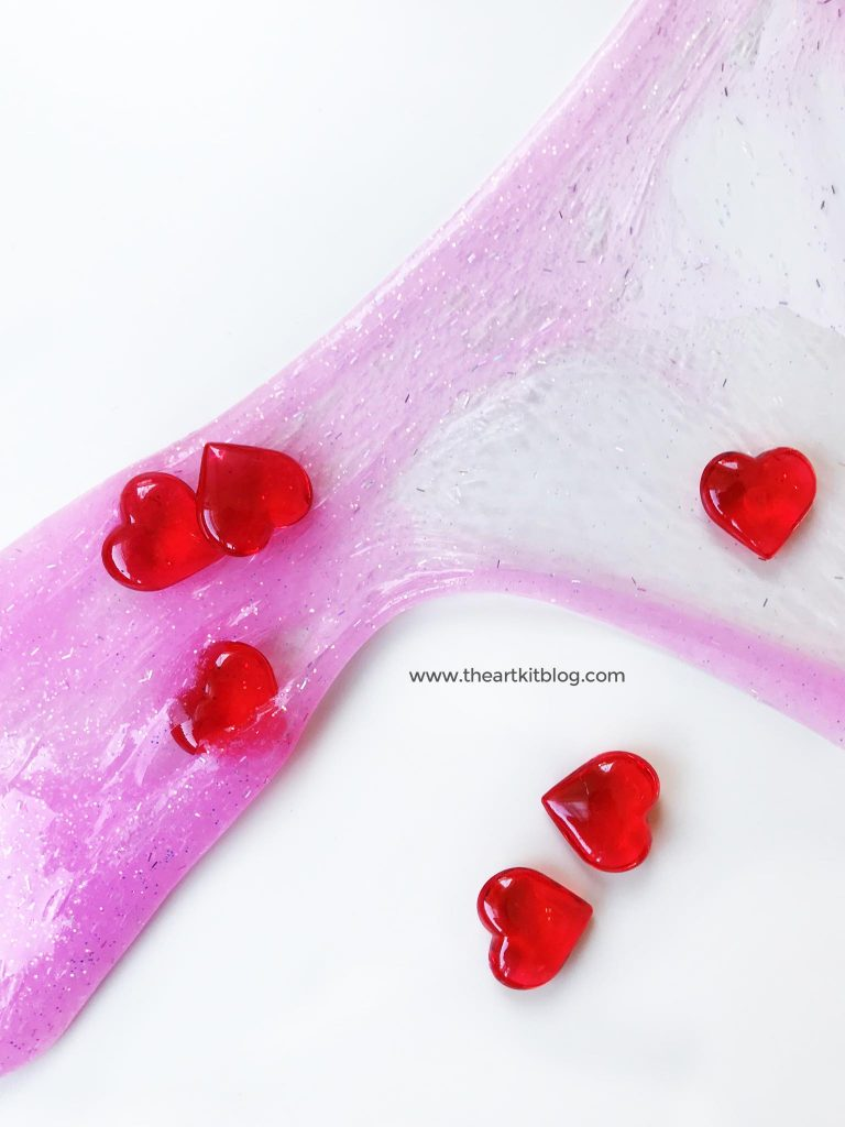 Valentine's Day GLITTER GLUE SLIME recipe hearts