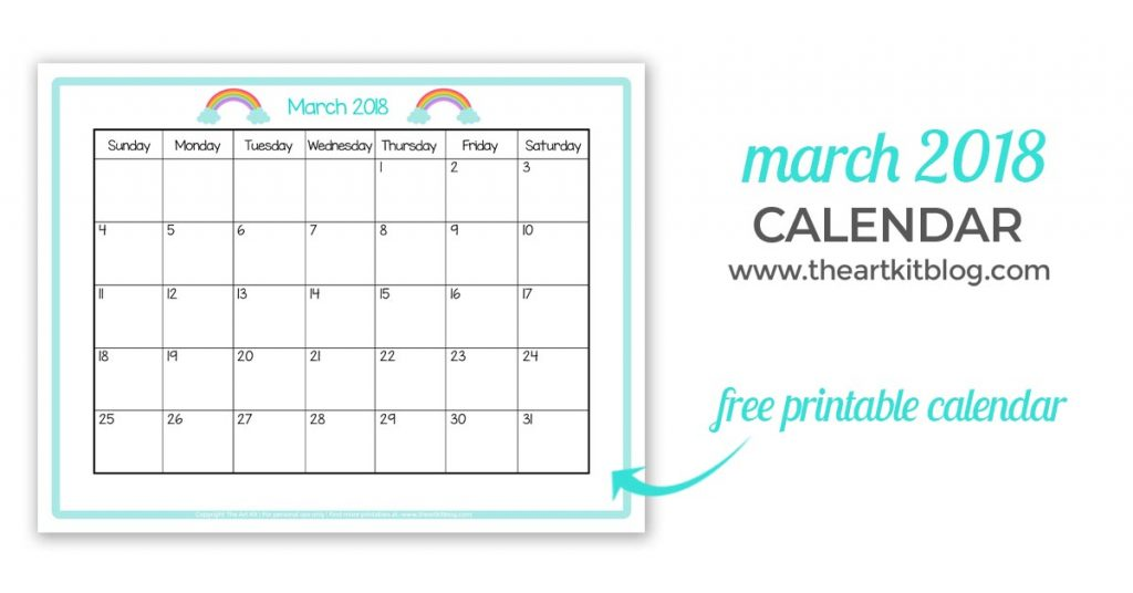 graphic regarding Printable Calendar Kids referred to as Totally free Printable Calendar - Exceptional for Small children March 2018 - The
