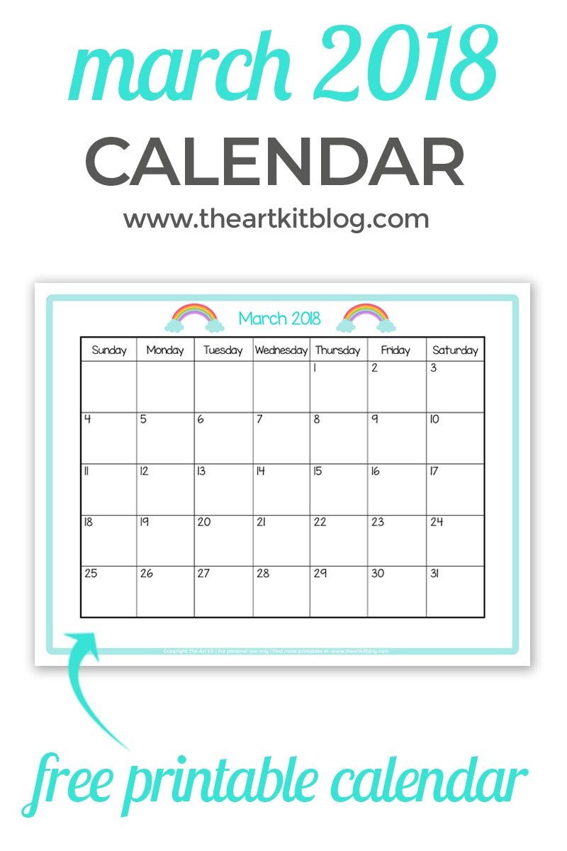 free PRINTABLE CALENDAR kids march 2018