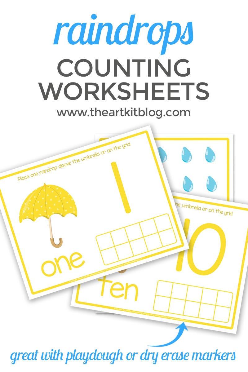 COUNTING WORKSHEETS for spring raindrops and umbrellas - Copy
