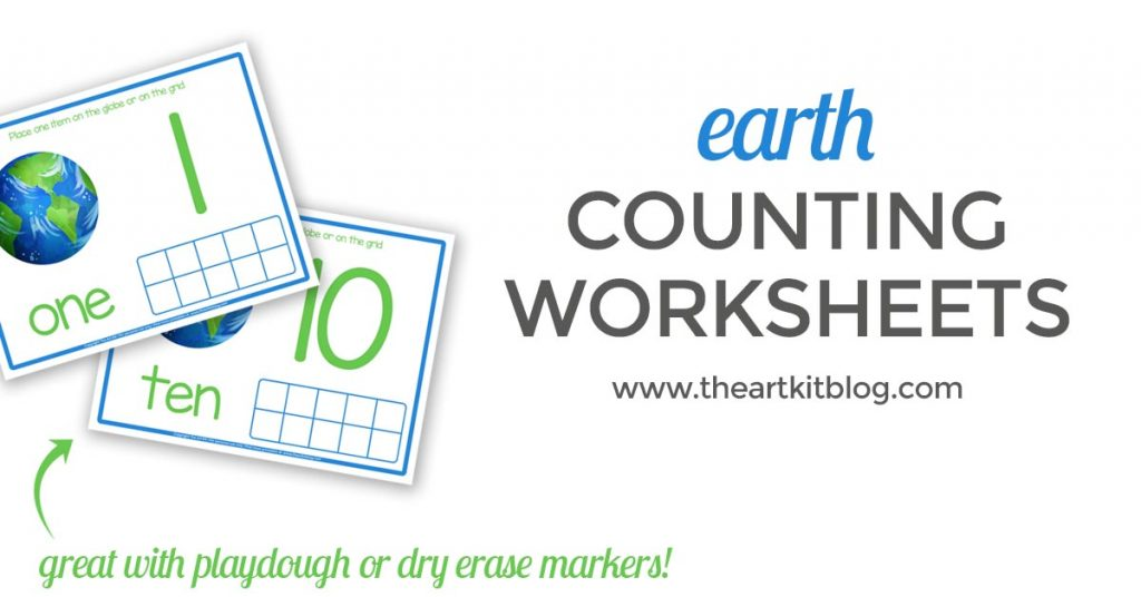 EARTH DAY counting activity sheet for kids facebook