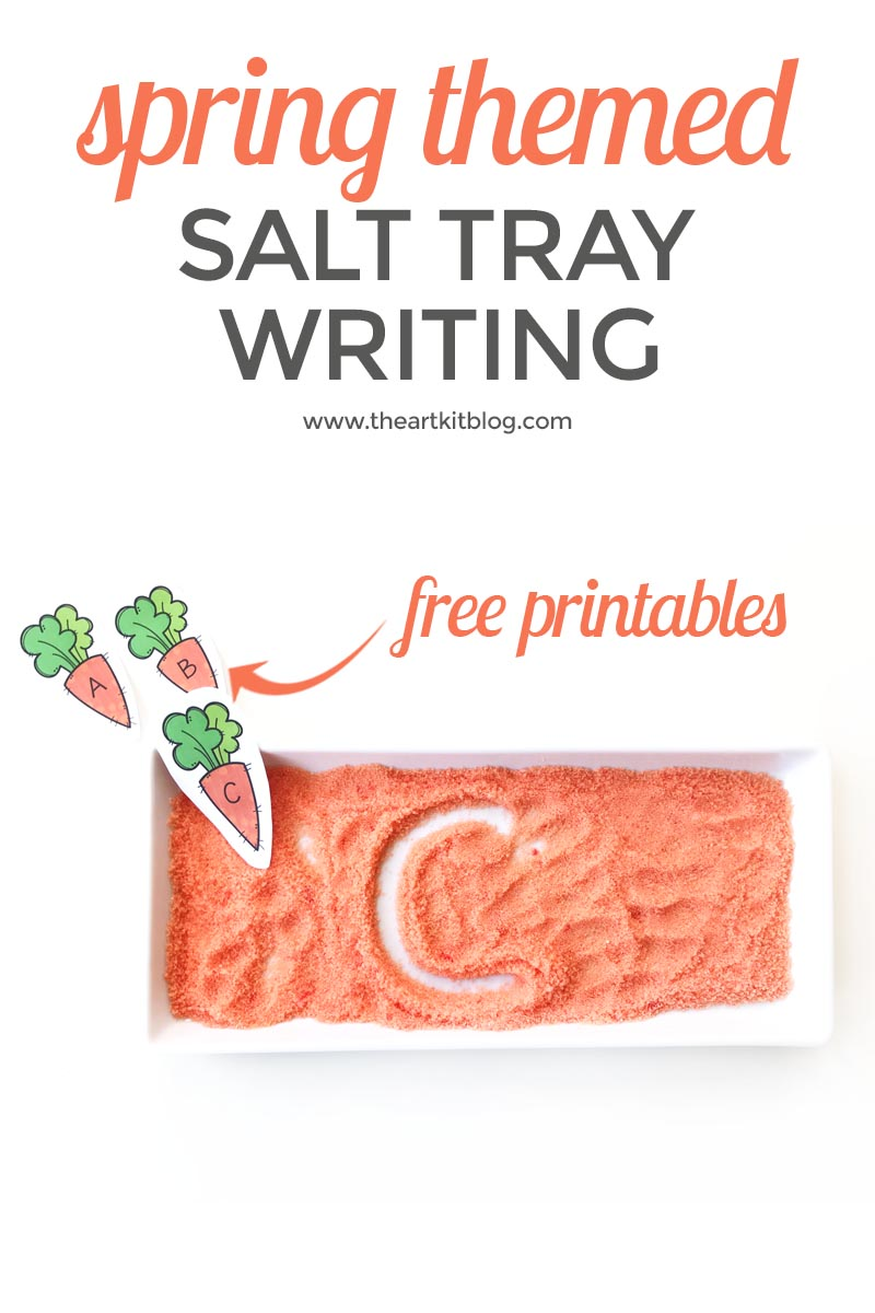 Practice Writing Letters the Fun Way: In Colored Salt {With Free Carrot Letter Printables}
