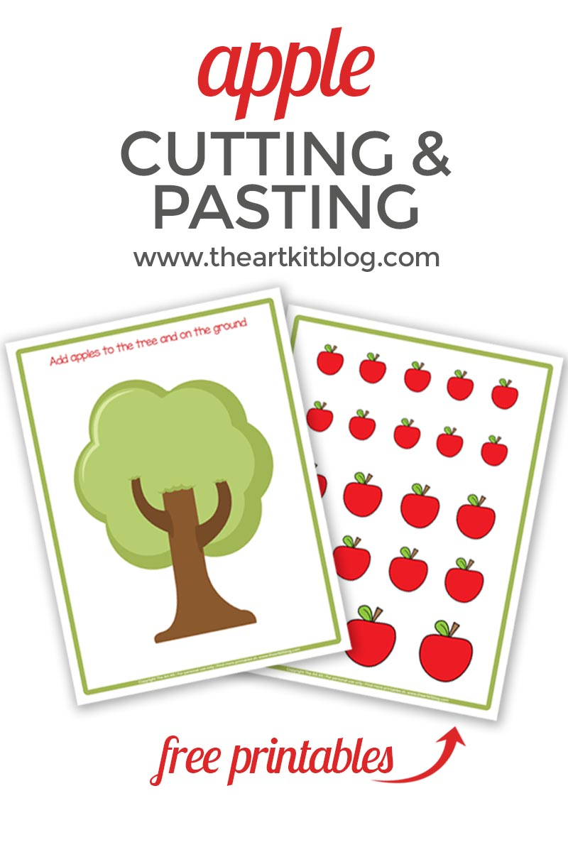 picture regarding Apple Printable identified as Straightforward Apple Chopping and Pasting Craft No cost Printables