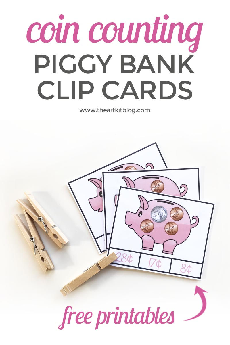Coin Counting Piggy Bank Clip Cards {Free Printables}