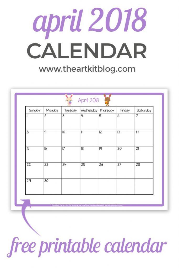 free printable APRIL 2018 CALENDAR great for kids facebook