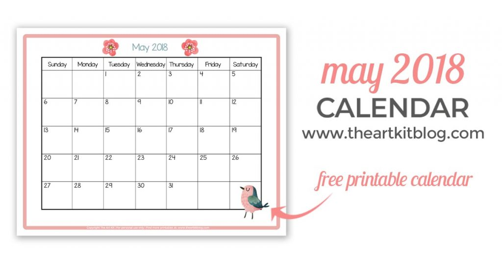 free printable MAY 2018 CALENDAR great for kids facebook