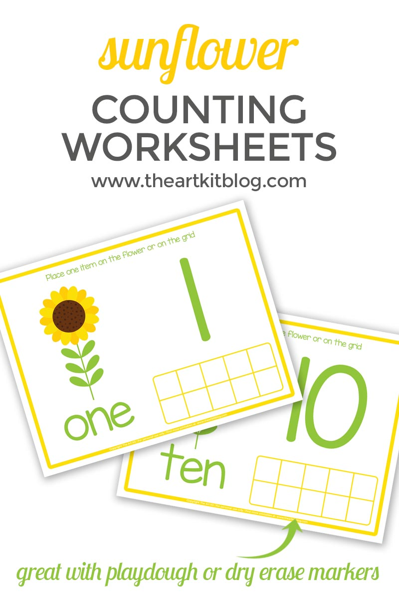 sunflower COUNTING WORKSHEETS free printable facebook