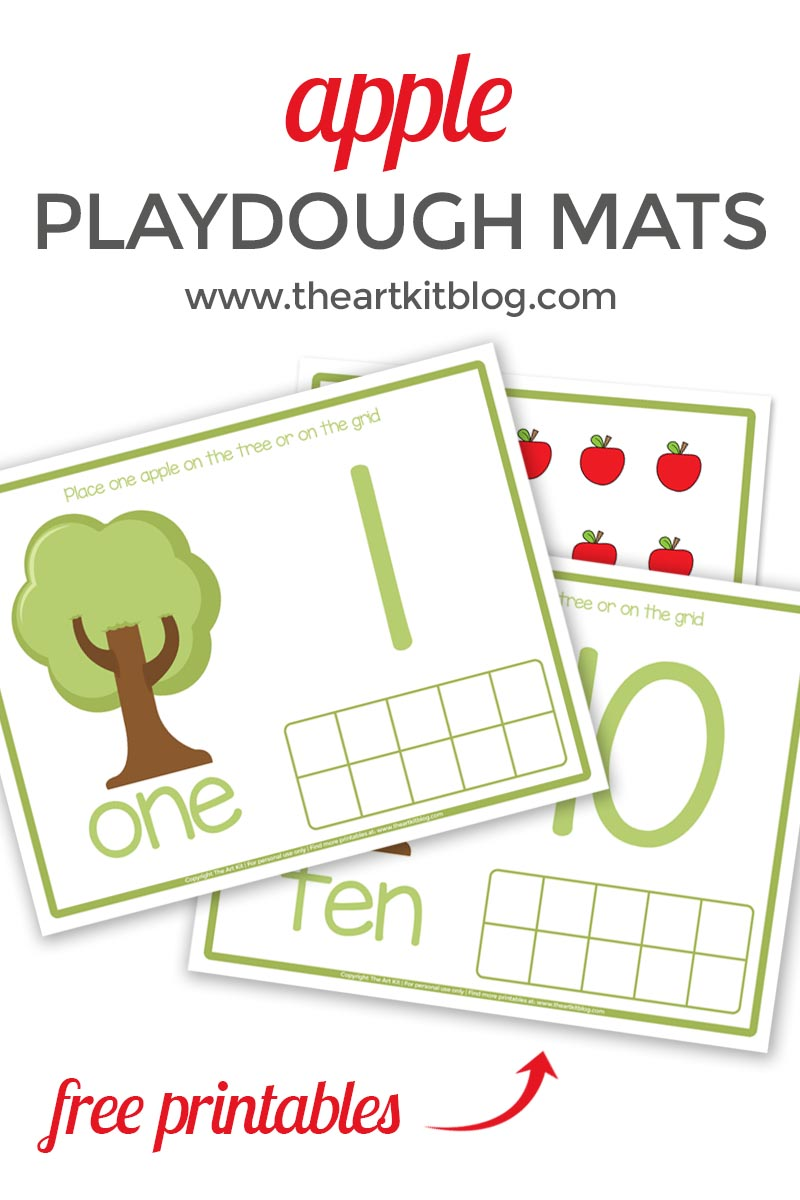 Apple Counting Playdough Mats {Free Printable Pack}