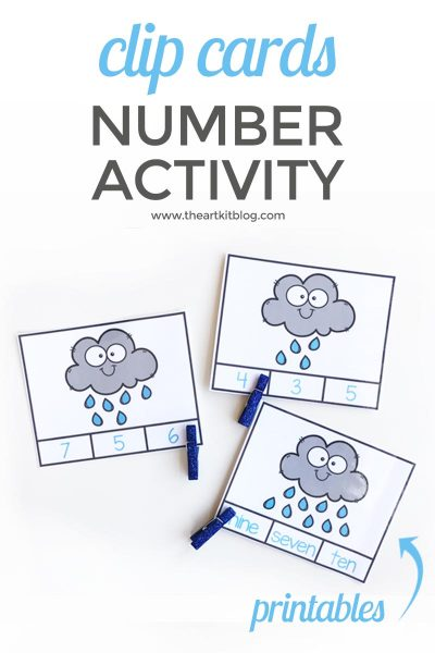 Counting raindrops clip cards free printables for kids number practice