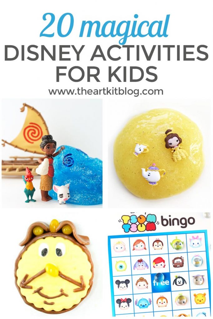 20 magical disney activities for kids such as slime, free printables, and treats