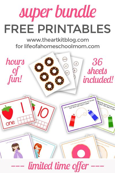 super bundle of free printables from the art kit for life of a homeschool mom early learning for kids