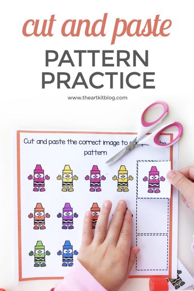 cut and paste pattern practice worksheet free printable pinterest