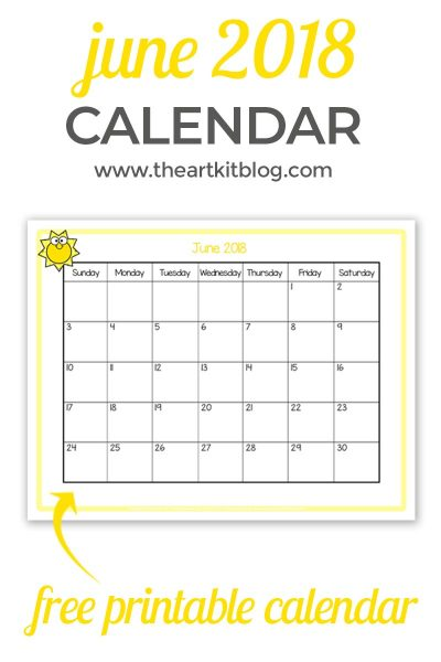 free printable JUNE 2018 CALENDAR great for kids PINTEREST NEW