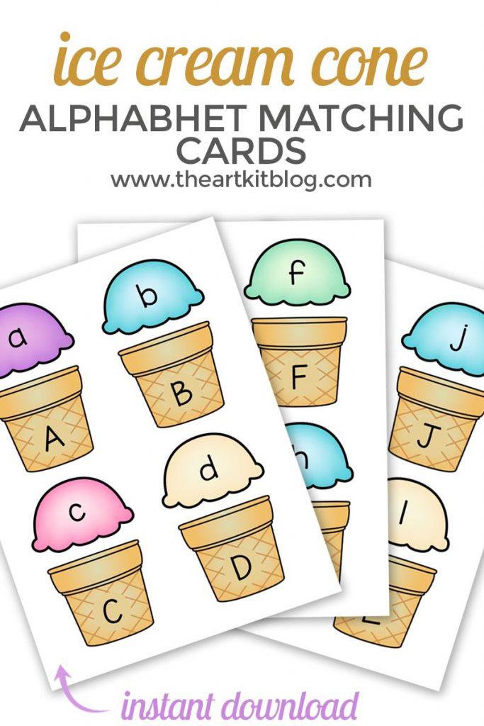 ice cream cone abc matching PINTEREST