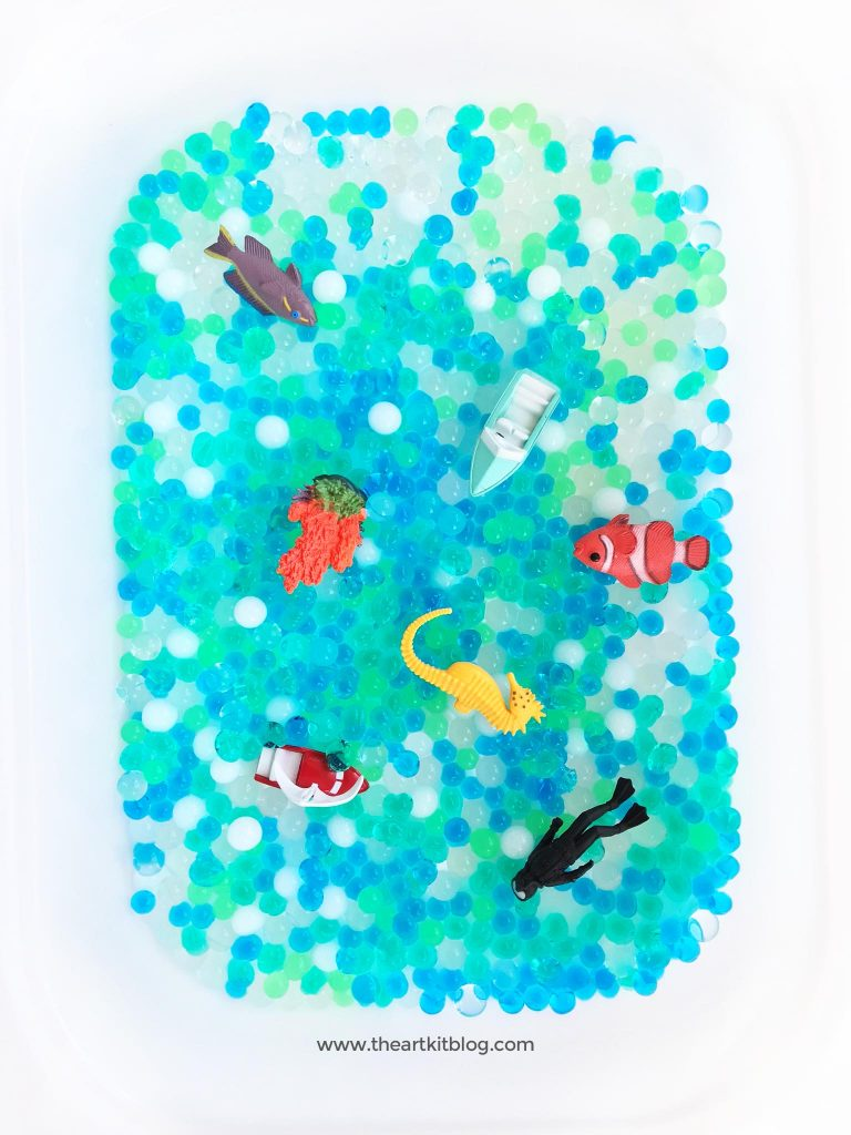 water bead sensory activity for kids under the sea