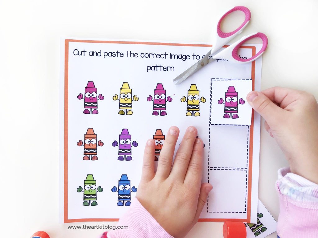 cut and paste pattern practice worksheet free printable pinterest