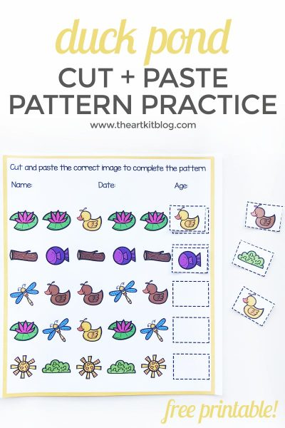 Duck Pond Cut + Paste Pattern Practice {Free Printable}