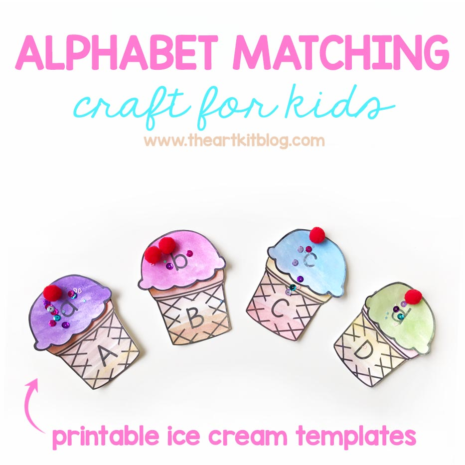 graphic relating to Printable Craft for Kids named Ice Product Alphabet Matching Craft for Children - Printable Pack