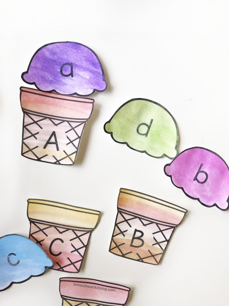 ice cream cone abc matching craft kids alphabet