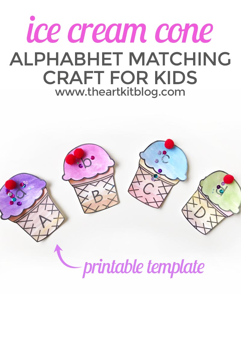 photo regarding Printable Craft for Kids referred to as Ice Product Alphabet Matching Craft for Young children - Printable Pack