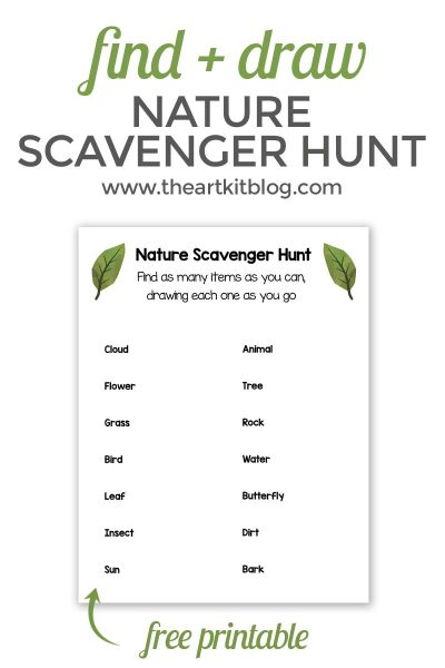 Find and Draw – Nature Scavenger Hunt for Kids {Free Printable}