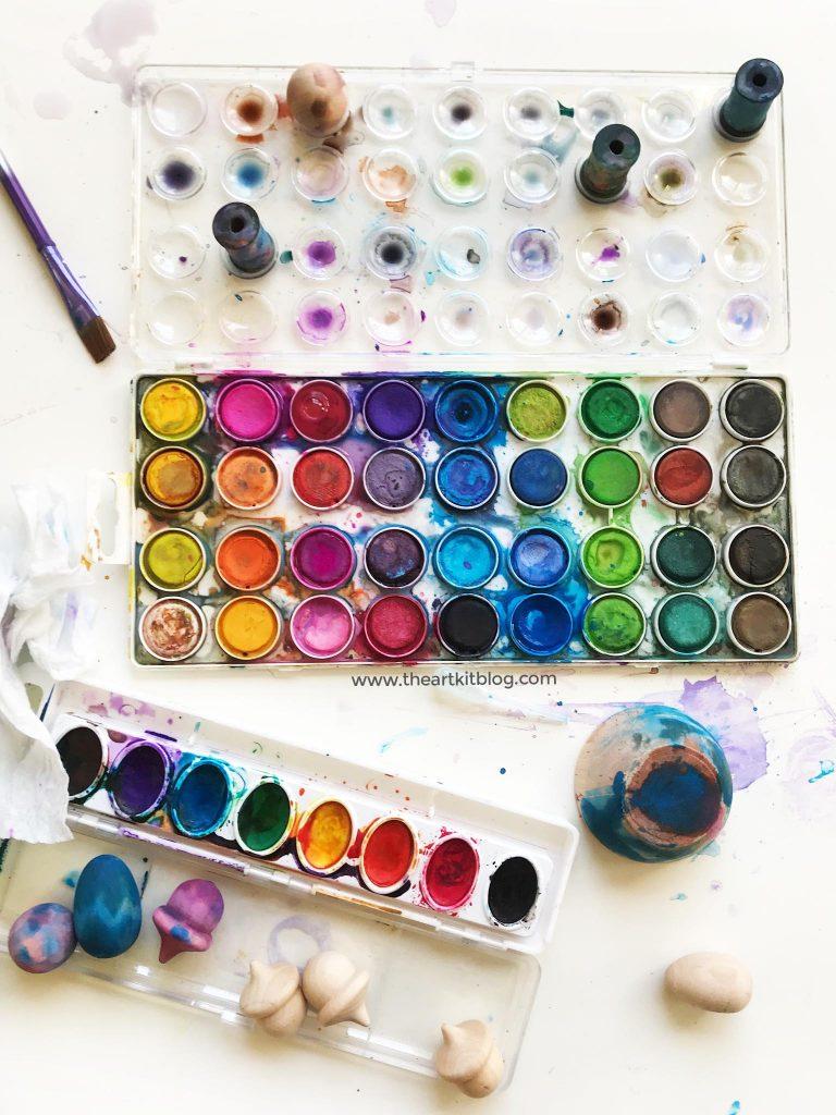 painting wood spools watercolor invitation to create art kids